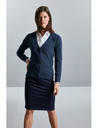 715F•LADIES V NECK KNITTED CARDIGAN
