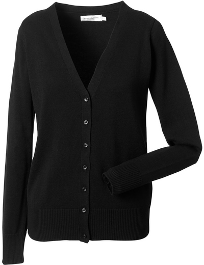 715F•LADIES V NECK KNITTED CARDIGAN , 2XL, black (03)