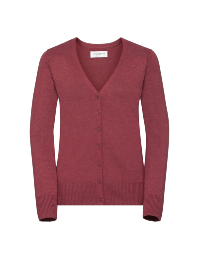 715F•LADIES V NECK KNITTED CARDIGAN , 2XL, cranberry marl (08)
