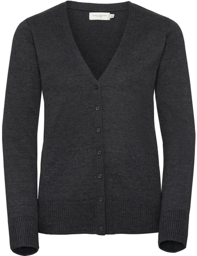 715F•LADIES V NECK KNITTED CARDIGAN , 2XL, charcoal marl (16)