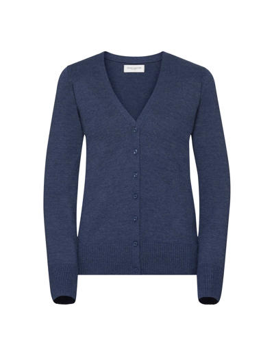 715F•LADIES V NECK KNITTED CARDIGAN , 2XL, denim marl (19)