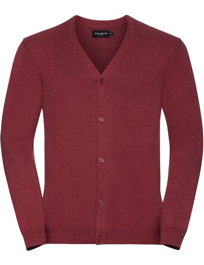 715M•MENS V NECK KNITTED CARDIGAN, 2XL, cranberry marl (08)