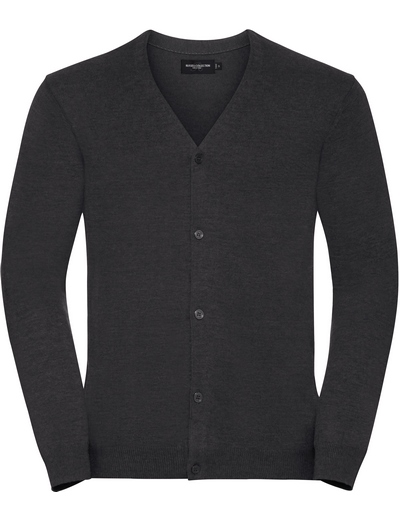 715M•MENS V NECK KNITTED CARDIGAN, 2XL, charcoal marl (16)