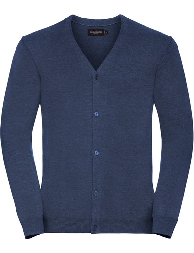 715M•MENS V NECK KNITTED CARDIGAN, 2XL, denim marl (19)
